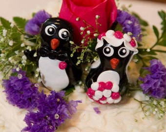 Custom Penguin Wedding Cake Toppers - 3 Inch Size