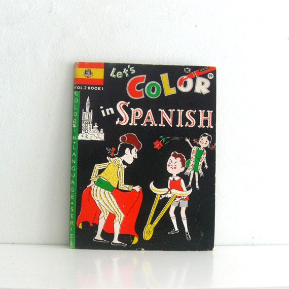 Vintage Coloring book Unused 1960s Let's Color in Spanish