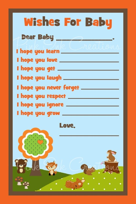 Forest Friends Woodland Baby Advice Wishes Baby Shower Card Pdf