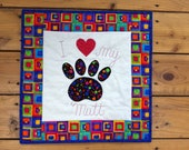 Small Paw Print Quilted Wall Hanging, Dog Paw Print Applique