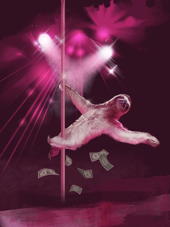items similar to stripper sloth,  pack, birthday card, greeting, Birthday card