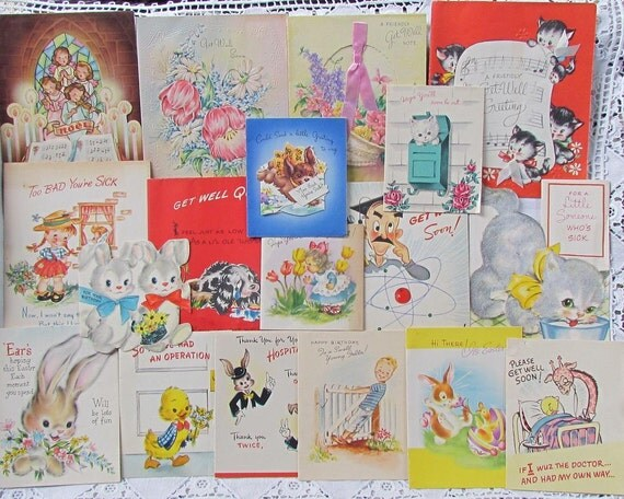 Vintage Greeting Cards..Children..Animals..Get Well