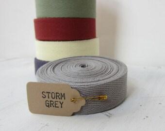 Storm Gray Twill Tape Ribbon, 3/4 inch wide Twill Ribbon,  Cotton Twill Tape