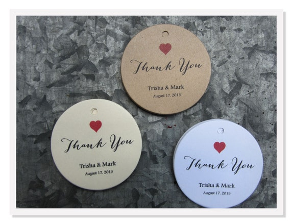 Wedding Favor Tags, Round Favor Tags Red Heart Thank You Personalized ...