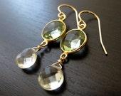 Green Amethyst Prasiolite 24kt Gold Vermeil Earrings