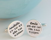 Personalized Birth Celebration Silver Cufflinks, new baby, personalised cuff links, twins, father's day, new dad, mens jewellery, engraved