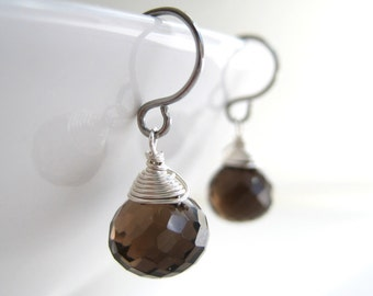 Smoky Quartz Drop Earrings - bridesmaid earrings, wedding jewelry, simple small silver wire wrapped gemstone, brown drop earrings