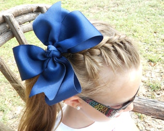 Blue Hair Bow, Large Uniform Solid, Royal HairBow, Girls School Bow, Custom Boutique, Basic Huge Youth, Wide Ribbon,  Kids Gift, Southern