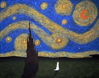 White German Shepherd Dog LARGE Folk art PRINT of Todd Young painting Starry Sky