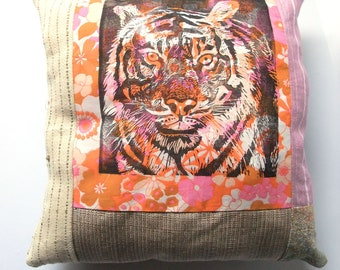 Hand-printed Tiger Flower Accent Pillow, Natural History, Tiger Block Print, Cushion or Pillow
