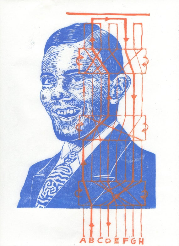 Linocut portrait of Alan Turing and the Enigma machine, History of Science Lino Block Portrait, Computer Science, Cryptography, Alan Turing