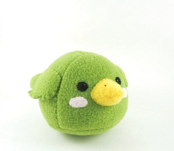 Green Bird Stuffed Animal Childrens Plush Toy Kawaii