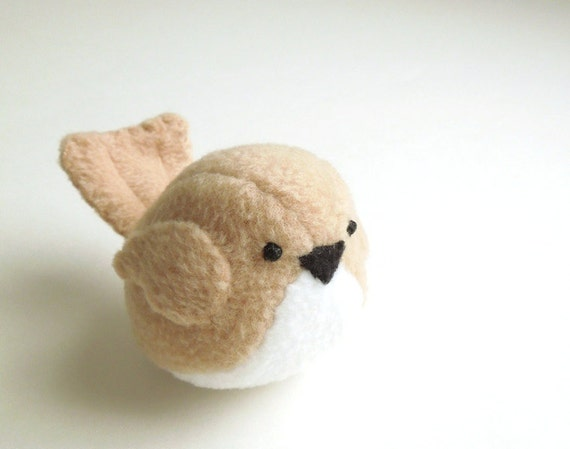Childrens Small Tan Bird Stuffed Animal Kids Handmade Plush Toy