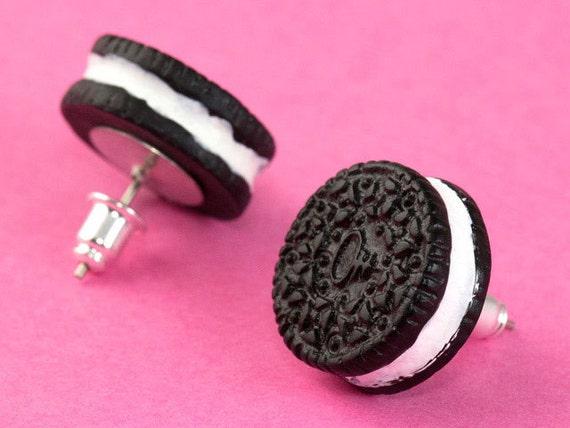 Oreo Cookie Ear Posts - Kawaii Stud Earrings
