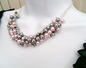 Pink and Silver Gray Beaded Necklace, Pink Bridesmaid Jewelry, Cluster Necklace, Chunky Necklace, Bridesmaid Gift, Pink and Gray Jewelry