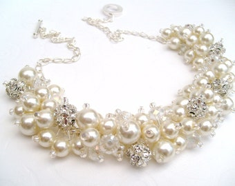 Pearl Wedding Jewelry, Rhinestone Beaded Necklace, Set of 7,  Bridal Jewelry, Cluster Necklace, Chunky Necklace, Bridesmaid Gift - Pearls