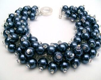 Bridesmaid Jewelry, Navy Blue Pearl Beaded Bracelet, Cluster Bracelet, Pearl Bracelet, Bridesmaid Gift - Jewelry By Kim Smith