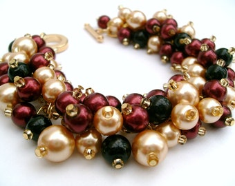 Pearl Bridesmaid Bracelets, Bridesmaid Jewelry, Red Wine and Gold, Custom Colours, Cluster Bracelet, Pearl Beaded Bracelet