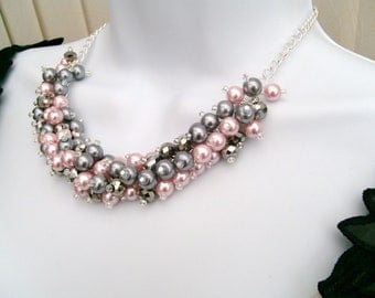 Set of 8 Pink and Silver Gray Beaded Necklaces, Pink Bridesmaid Jewelry, Cluster Necklace, Chunky Necklace, Bridesmaid Gift, Pink Wedding