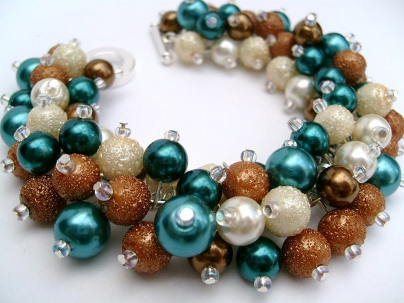 Bridesmaid Jewelry, Teal, Bronze and Ivory,  Pearl Beaded Bracelet, Cluster Bracelet, Pearl Bracelet, Bridesmaid Gift - Jewelry By Kim Smith