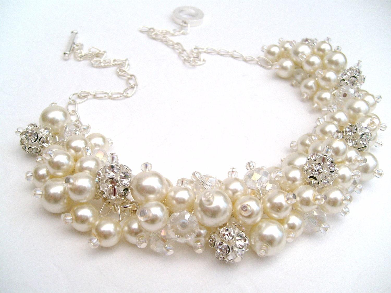 Pearl Wedding Jewelry Rhinestone Beaded Necklace Set Of 7