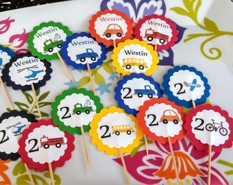Set of 10 Personalized Themed Cupcake Toppers --Any Image in My Shop with Name and Age
