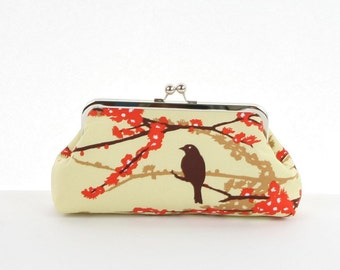 Fall Wedding Bridesmaid Gift, Clutch Purse Ivory Burnt Orange Brown Sparrow,Wedding Party Gift,Bridesmaid Clutch