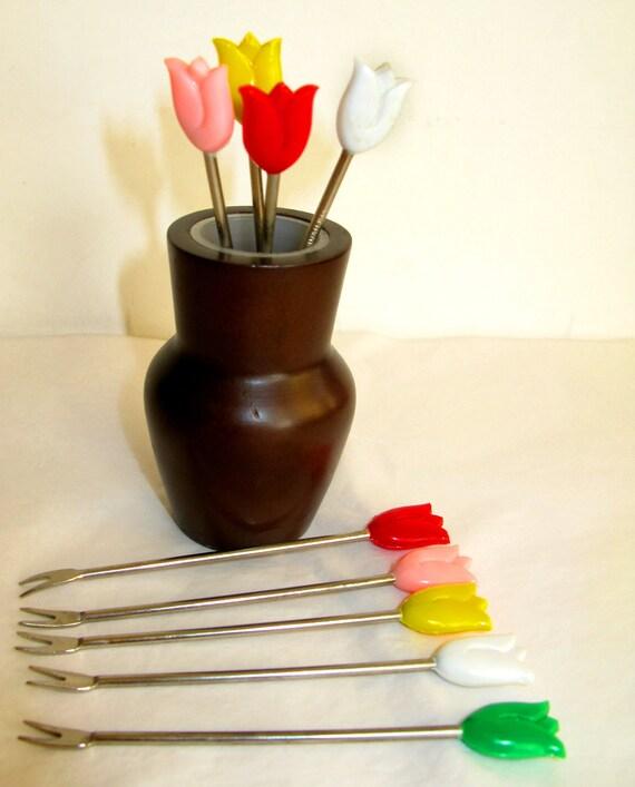 Vintage Tulip cocktail forks in holder