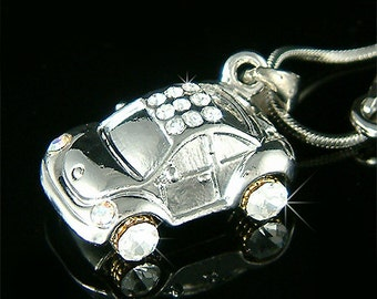 Swarovski Crystal  3D VW Beetle VOLKSWAGEN Classic CAR Charm Pendant Necklace New Christmas Gift