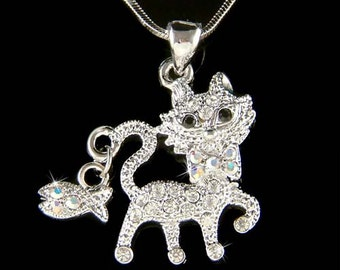 Swarovski Crystal Cute KITTY CAT Kitten Fish Charm Pendant Chain Necklace Christmas Best Friend Gift New