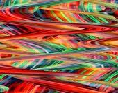 Artist Made Mixed Media Fabric Panel Citrus Wave Fiber Art UNIQUE
