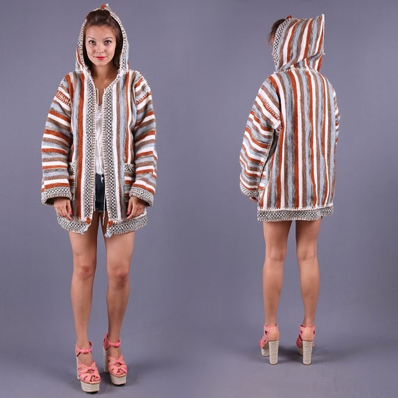 Southwestern Jacket / Handwoven Wool Blazer Coat / 70s / sz Medium