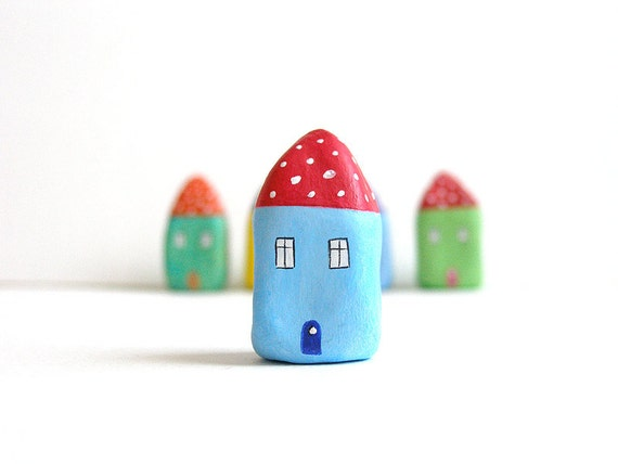 Little Home No 199 - Litle clay house red and blue with polka dots