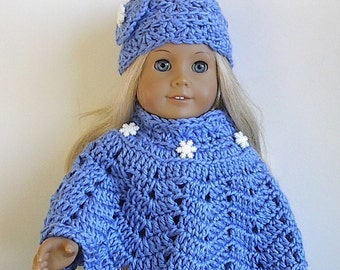 "18 Inch Doll Clothes - Crocheted Poncho Set Blue with White Snowflake Buttons Handmade to Fit the American Girl and Other 18"" Dolls"