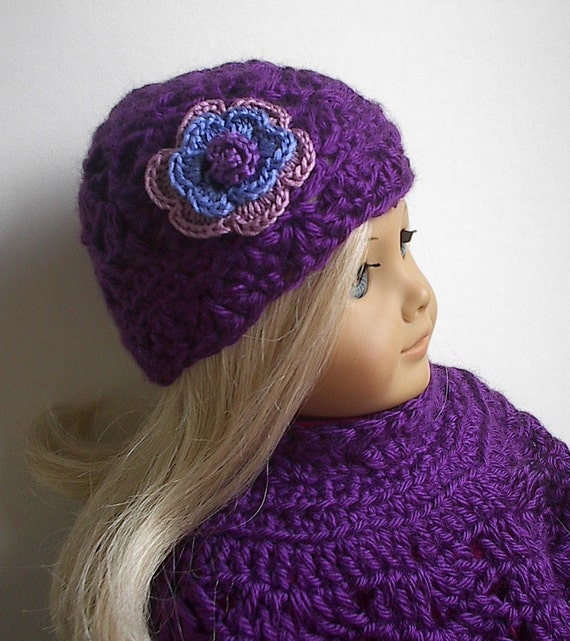 American Girl Doll Clothes Crocheted Poncho Set in Violet with Flowered Hat fits 18 Inch Dolls