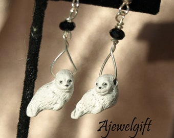 White Harp Seal Pup Earrings 12098