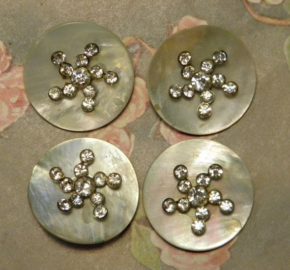 Antique Mother of Pearl Buttons With Rhinestones