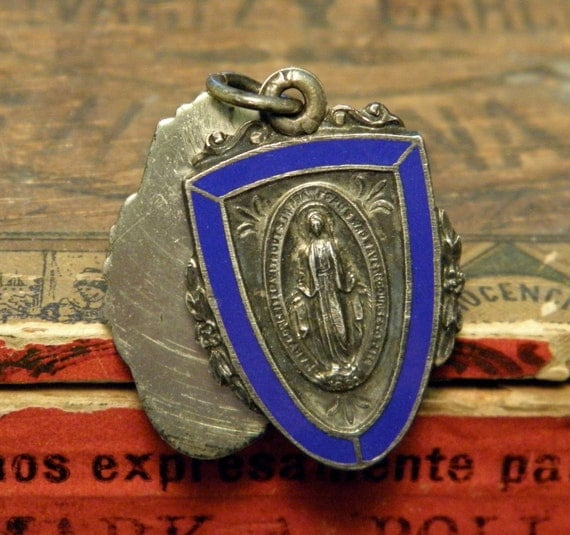 Vintage Sterling Religious Slide Mary Medal