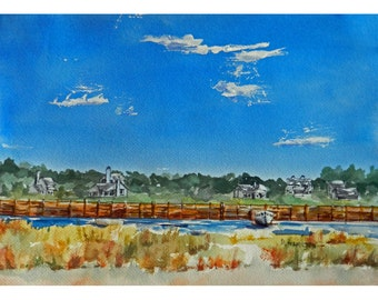 Nautical Watercolor Landscape, Shoreline Art, Rustic Coastal Art, Massachusetts, Wooden Seawall, Housewarming Gift, Home Office Wall Decorl