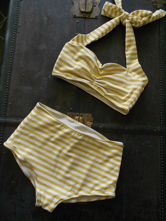 Gold and White Stripe Retro Pin up bikini swimsuit size xs-xl