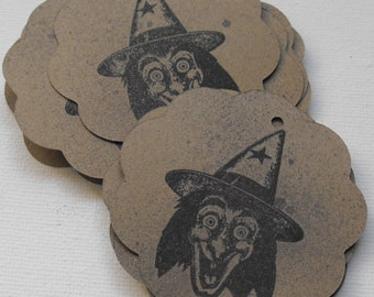 Wicked Witch Tags Stamped by The Paper Peddler Halloween gift wrap adornments 13 pieces