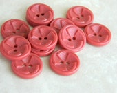 "12 Vintage Buttons 1930's or 40's Pink Plastic Pinwheel Buttons-3/4""-VPK15"
