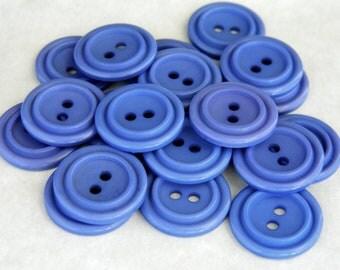 2 Dozen Vintage 1970's Blue Plastic Buttons-VBP16
