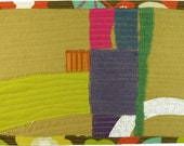 7.22.2012 small art quilt, contemporary, abstract, gold, citron, purple, pink, green, orange, yellow, white, brown, aqua