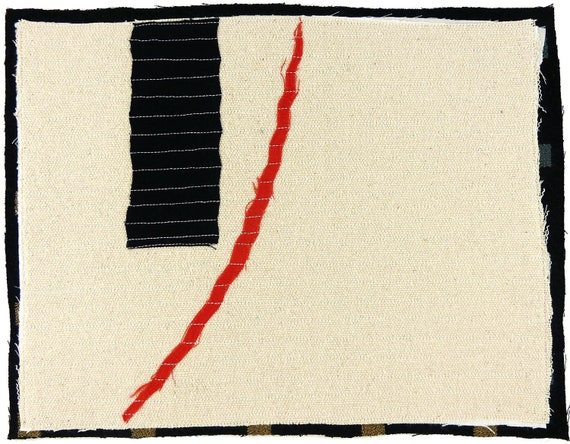 7.9.2012 small art quilt, contemporary, abstract, cream, black, red, minimalist