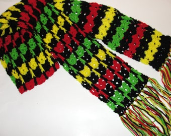 Crochet Pattern for Colorful Drop Stitch Scarf