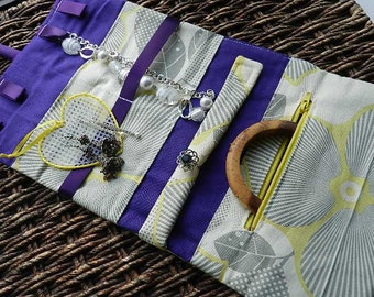 Great Personalized Bridesmaid Gift Jewelry Roll Large Organizer Holder Jewellery Embroidery or Monogram