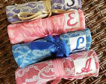 Set of 9 Personalized bridesmaid party gift Lace Jewelry Rolls with Free Shipping Jewellery Organizer Holder