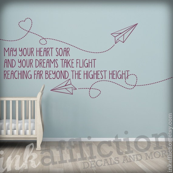 Items Similar To Paper Airplanes Quote Wall Decal Large