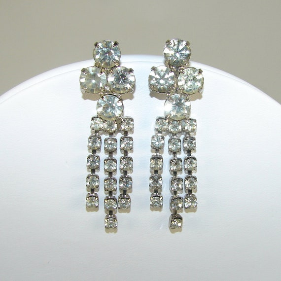 Rhinestone Dangle Earrings Wedding Bridal Formal Vintage Jewelry Pierced Chain Drop